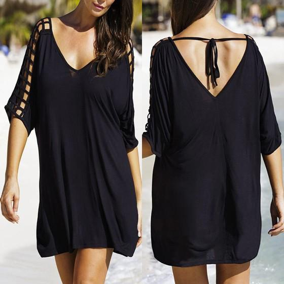 Casual Black Plain Hollow-out V-neck Elbow Sleeve Mini Dress