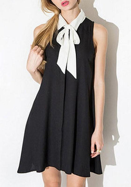 Casual Black Plain Irregular Bow Turndown Collar A-Line Cute Off-Shoulder Mini Dress