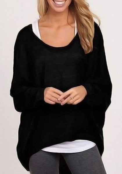 Casual Black Plain Irregular Dolman Sleeve Fashion Casual T-Shirt