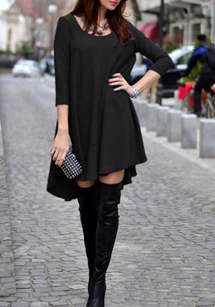 Casual Black Plain Irregular Draped Round Neck 3/4 Sleeve Oversized T-Shirt Mini Dress