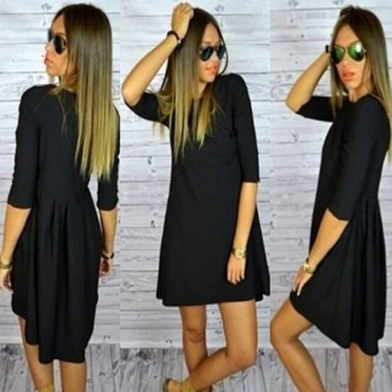 Casual Black Plain Irregular Swallowtail Elbow Sleeve Round Neck Casual Dress