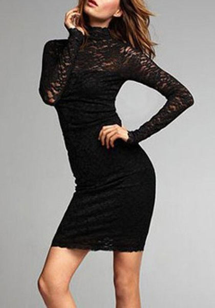 Casual Black Plain Lace Cut Out High Neck Backless Mini Dress