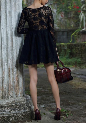 Black Plain Lace Hollow-out Pleated See-through Cute Homecoming Prom Skater Mini Dress