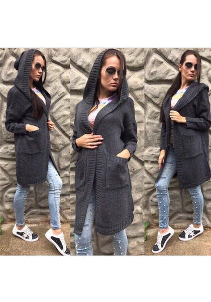 Casual Black Plain Pockets Hooded Casual Cardigan Sweater