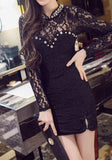 ByChicStyle Casual Black Plain Rhinestone Collarless Elegant Lace Mini Dress