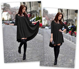 ByChicStyle Casual Black Plain Round Neck Loose Mini Dress
