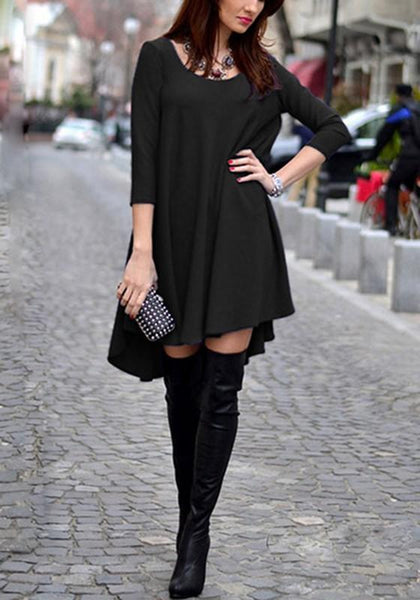 Casual Black Plain Round Neck Loose Mini Dress