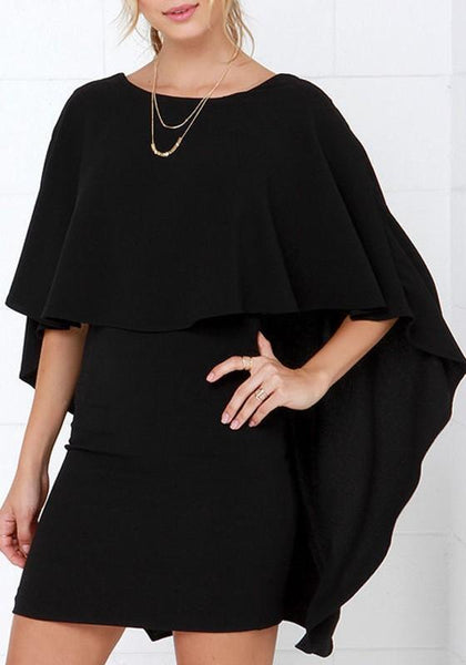 Casual Black Plain Ruffle Backless V-Back Cloak Decorated Cute Casual Cotton Mini Dress