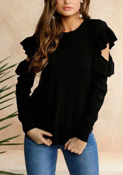 Casual Black Plain Ruffle Irregular Round Neck Fashion Pullover Sweater