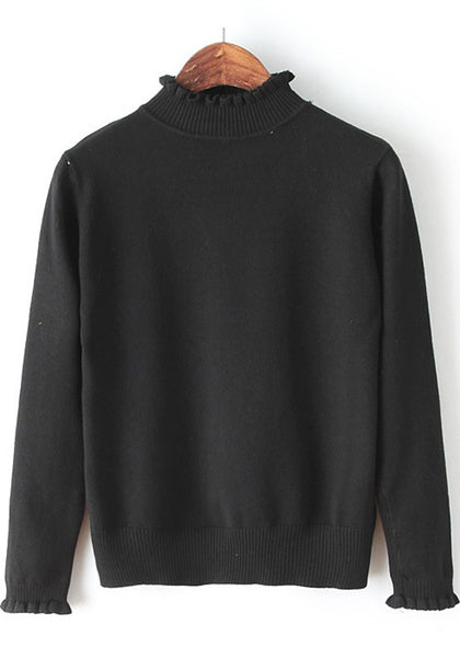 Casual Black Plain Ruffle Knit Pullover