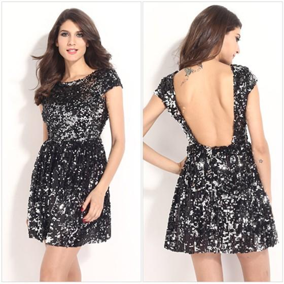 Black Plain Sequin Backless A Type Round Neck Short Sleeve Fashion Loose Mini Dress