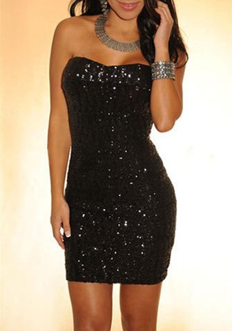 Black Sequin Bandeau Off-shoulder Backless Boat Neck Bodycon Sleeveless Mini Dress