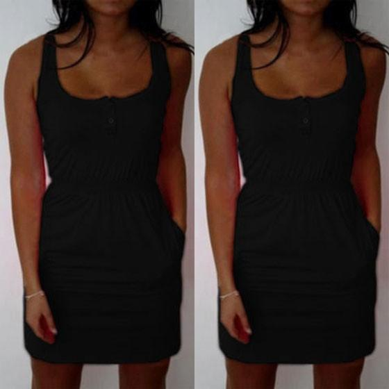 Casual Black Plain Single Breasted Pockets Sleeveless Mini Dress