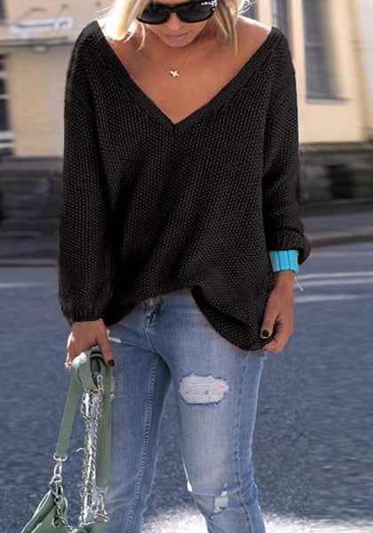 Casual Black Plain V-neck Long Sleeve Fashion Pullover Sweater