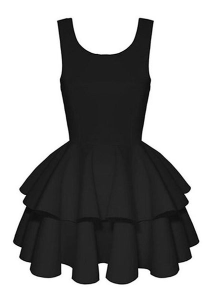 Casual Black Pleated Bow Cut Out Round Neck Mini Dress