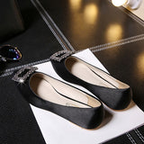 ByChicStyle Casual Black Point Toe Flat Rhinestone Casual Shoes
