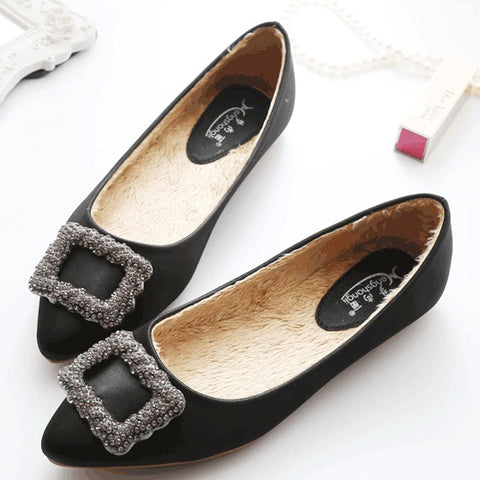 Casual Black Point Toe Flat Rhinestone Casual Shoes
