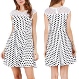 ByChicStyle Casual Black Polka Dot Cut Out Round Neck Fashion Mini Dress