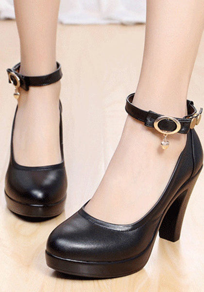 Casual Black Round Toe Chunky Rivet Buckle Casual High-Heeled Shoes