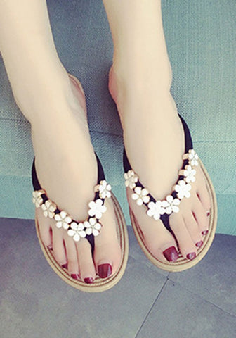 Casual Black Round Toe Flat Flower Casual Slippers