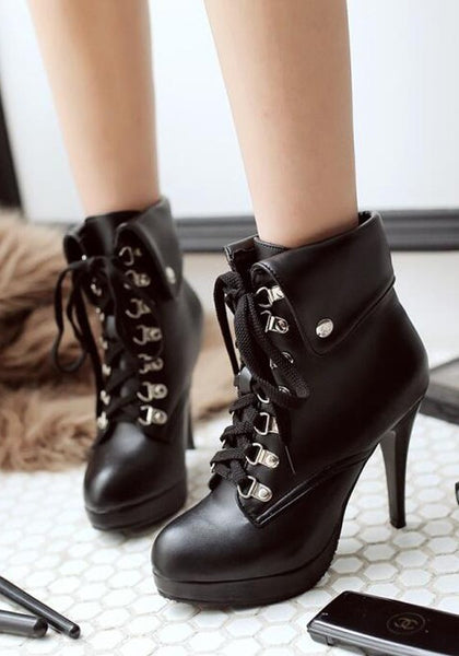 Casual Black Round Toe Stiletto Lace-up Fashion Martin Boots