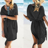 ByChicStyle Casual Black Sashes Irregular Half Sleeve Oversize Pregnant Mini Dress
