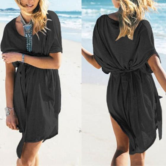 Casual Black Sashes Irregular Half Sleeve Oversize Pregnant Mini Dress