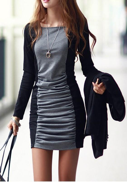 Casual Black Splicing Grey Pleated Round Neck Long Sleeve Mini Dress