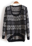 ByChicStyle Casual Black Striped Geometric Round Neck Wool Blend Sweater