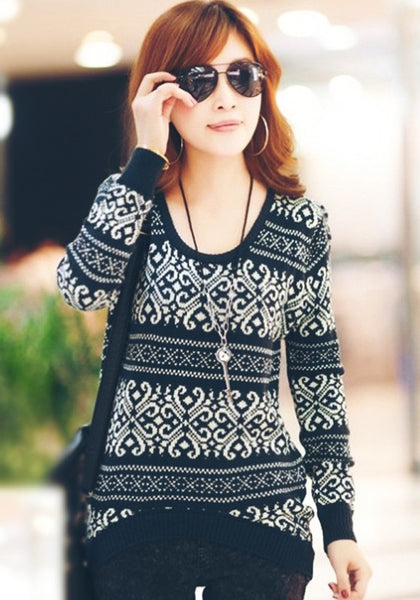 Casual Black Striped Geometric Round Neck Wool Blend Sweater