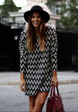 ByChicStyle Casual Black Striped Print Long Sleeve Fashin Casual Loose Chiffon Mini Dress