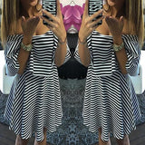 ByChicStyle Casual Black Striped Print Pleated 2-in-1 Boat Neck Mini Dress