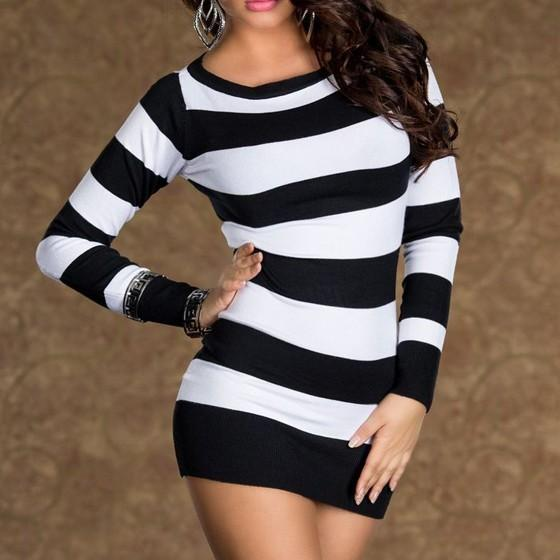 Casual Black Striped Round Neck Long Sleeve Mini Dress