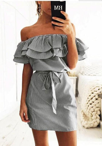 Streetstyle  Casual Black Striped Ruffle Belt Boat Neck Short Sleeve Mini Dress