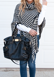 ByChicStyle Casual Black Striped Tassel High Neck Fashion Cotton Pullover Sweater