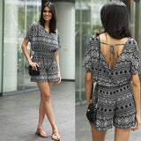 ByChicStyle Casual Black-White Geometric Boho Print Tie Back V-neck Vintage One Piece Short Romper