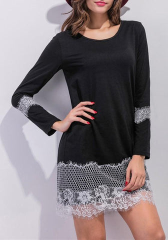 Black-White Patchwork Lace Hollow-out Draped Wavy Edge Long Sleeve Casual Mini Dress