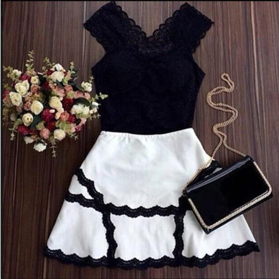 Casual Black-White Patchwork Lace Shoulder-Strap Deep V-neck Mini Dress