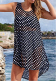 ByChicStyle Casual Black-White Polka Dot Print Irregular High-low See-through Plus Size Mini Dress