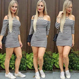 ByChicStyle Casual Black-White Striped Boat Neck Three Quarter Length Sleeve Bodycon Mini Dress