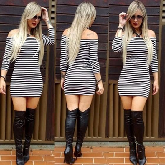 Casual Black-White Striped Boat Neck Three Quarter Length Sleeve Bodycon Mini Dress