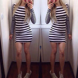 ByChicStyle Casual Black-White Striped Irregular Round Neck Slim Fashion Mini Dress