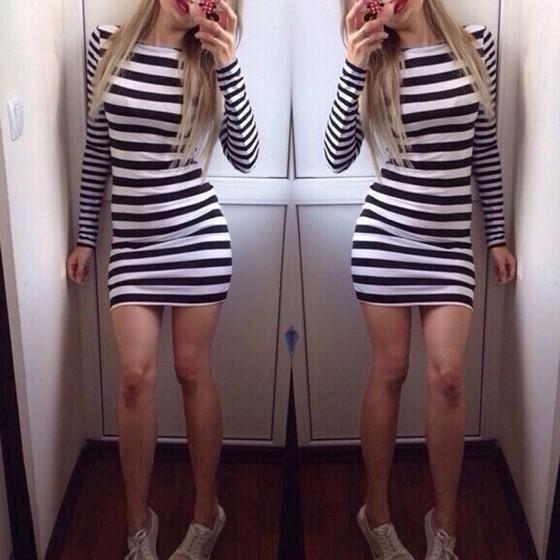 Casual Black-White Striped Irregular Round Neck Slim Fashion Mini Dress