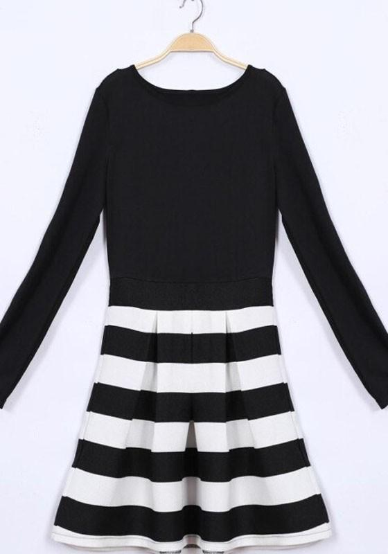 Bychicstyle Cheap Black White Striped Pleated A Line Long Sleeve