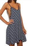 ByChicStyle Casual Black-White Striped Spaghetti Strap Draped Backless Deep V-neck Mini Dress