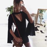 ByChicStyle Casual Black Zipper Cut Out V-neck Long Sleeve Mini Dress