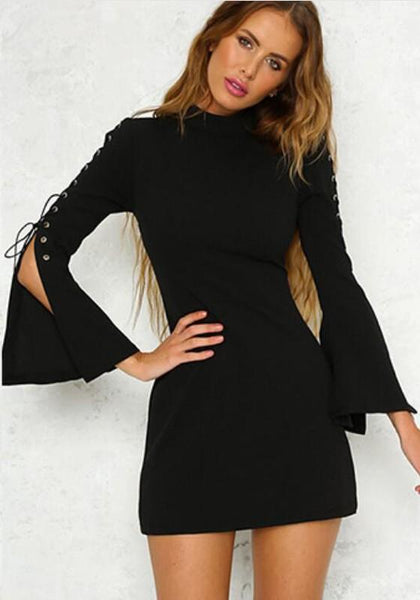 Casual Black Zipper Lace-up Flare Sleeve Band Collar Bodycon Party Mini Dress