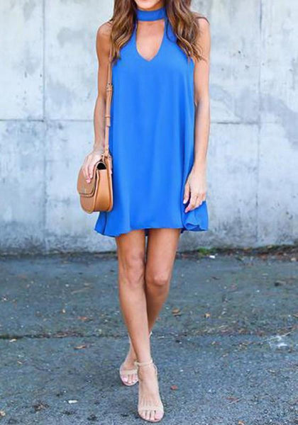 Casual Blue Cut Out Band Collar V-neck Sleeveless Mini Dress