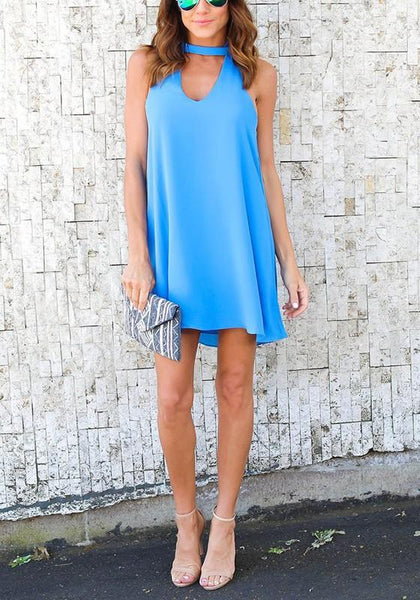 Casual Blue Cut Out Round Neck Casual Mini Dress