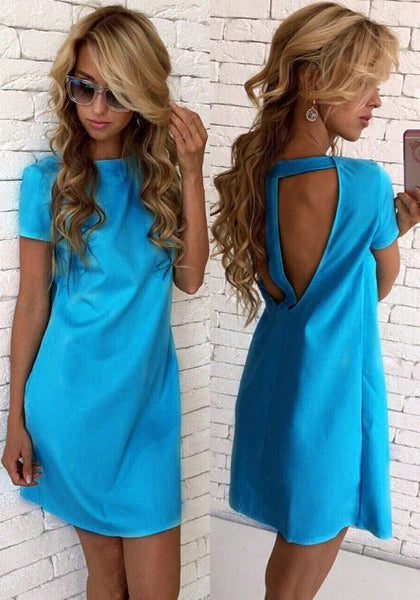 Casual Blue Cut Out Round Neck Short Sleeve Casual Mini Dress